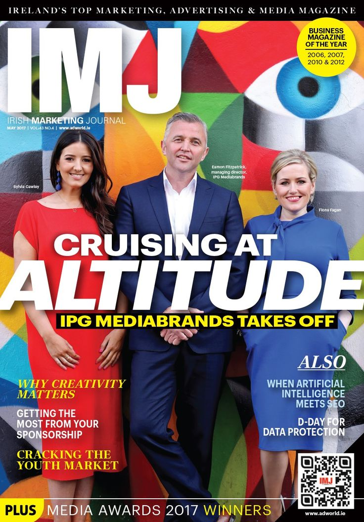 Check out our May issue cover, designed by Faye Keegan featuring IPG Mediabrands  In this month's IMJ: Cruising at Altitude - IMJ talks to Eamon Fitzpatrick of IPG Mediabrands about his plans for the business. We look at cracking the youth market with Susan Kelly of McCann Blue. Peter Smyth from IRS Plus talks about the power of radio and Susan Love MD of Goosebump talk about keeping shoppers happy. These any many more topical issues are covered as well as the results and
