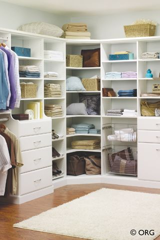 Find space for bulky items in a walk-in closet with corner shelves that connect walls and maximize storage. | Eddie Z's