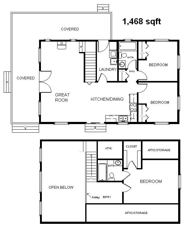 Container Home Floor Plans: 24x40 Country Classic 3 Bedroom 2 Bath Cabin W/Loft Plans
