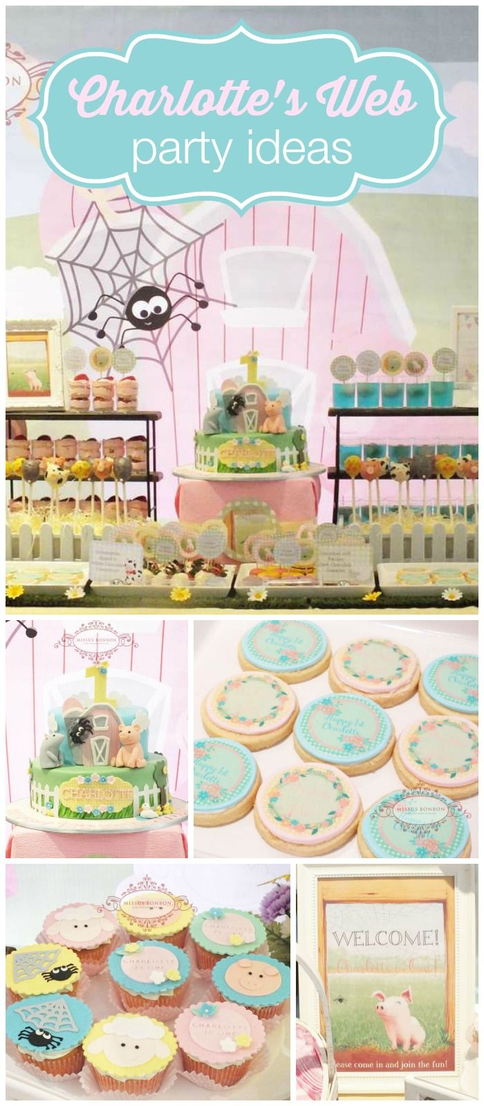 A Charlotte's Web girl birthday party in pastels and gingham with pink and blue favor boxes! See more party planning ideas at CatchMyParty.com!