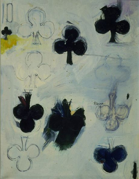Larry Rivers Ten of Clubs, 1960 oil and pencil on paper 25 5/8 x 19 5/8 inches