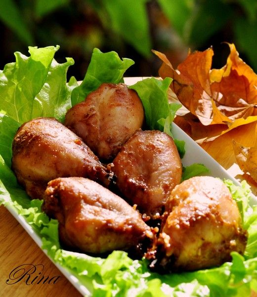 Куриная голень с арахисовой пастой