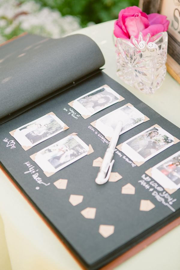 Polaroid guest book. Photos taken against a fairy light back drop and a note from the guest in the space for text <3