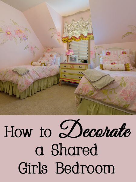 Tips, tricks, and ideas for how to decorate a shared girls bedroom - twins, siblings, individual, bunk beds, twin beds, bedding, furniture, storage, closet