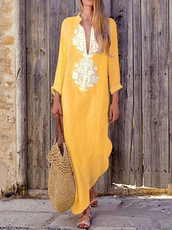 Deep V-neck Long Sleeves Split-side Maxi Dress