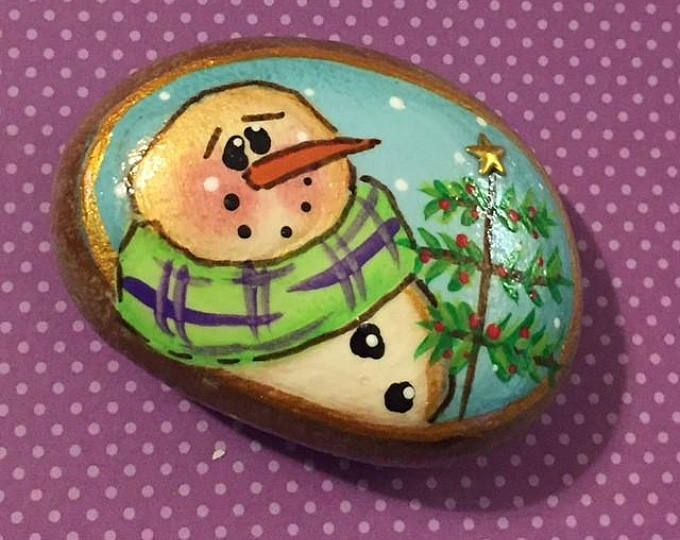 Handpainted SNOWMAN - ROCK art - painted stone - small paperweight - Christmas - stocking stuffer