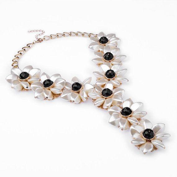 FJ Fashion Gold Chain Black Crystal White by Glamorosajewelry