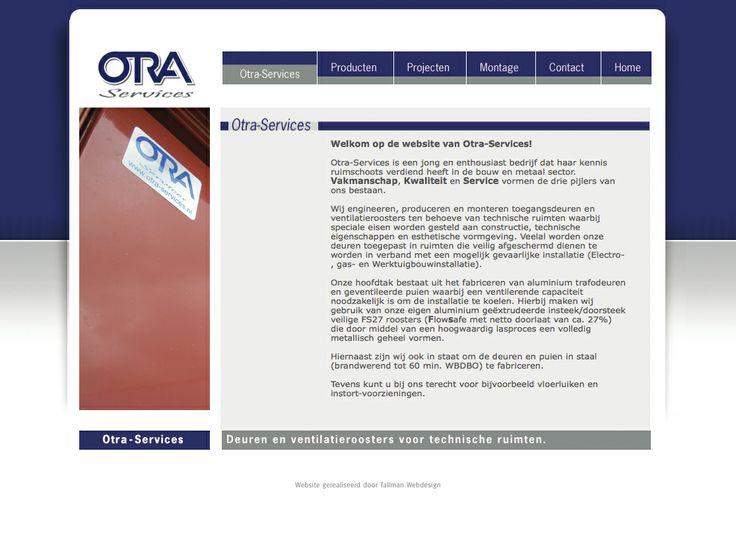 Website voor Otra Services deuren en ventilatieroosters voor technische ruimten.  http://www.otra-services.nl