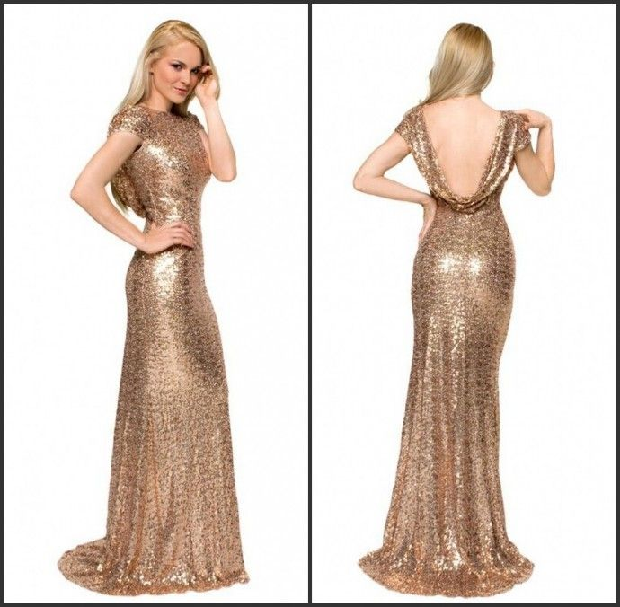 Cheap gold long dresses