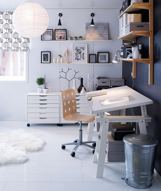 Love This White Art Studio With Ikea Flat File Cabinets. Great Drafting  Table As Well.(with Black U0026 Light Wood Details)