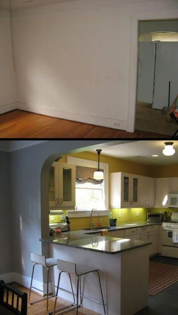 Open up wall between kitchen & dining room with archway ...