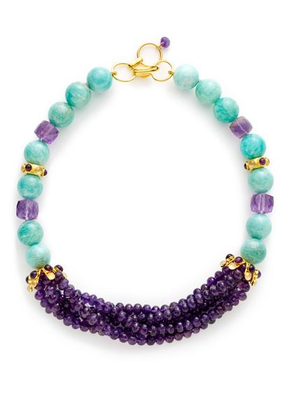 Amethyst & Russian Amazonite Collar Necklace