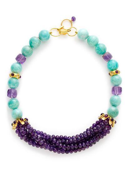 Amethyst & Russian Amazonite Collar Necklace