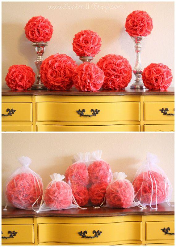 C Rose Pomanders Salmon Wedding Color Chart Hanging Flower Kissing Pom