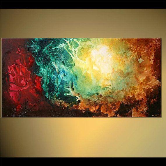 Original Contemporary Teal Abstract Acrylic por OsnatFineArt