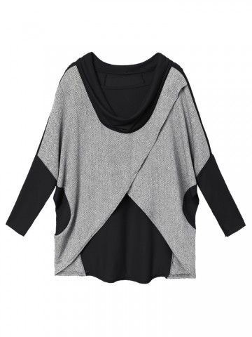 Fashionable Casual Women Irregular Batwing Sleeve Plus Size Loose Patchwork Cotton T-shirt Online - NewChic