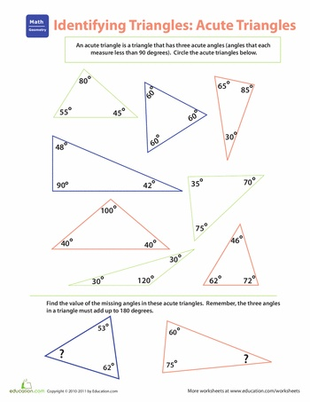 identifying triangles acute triangles worksheets. Black Bedroom Furniture Sets. Home Design Ideas