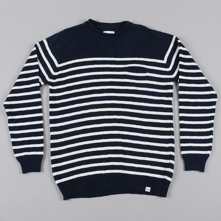 Norse Projects Sigfred Roll Linen Cotton Knit - Dark Navy