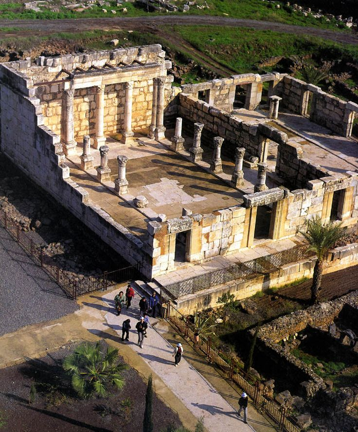 An aerial view over the ancient synagogue in Capernaum, on the Sea of Galilee, where Jesus lived with Peter and Andrew.