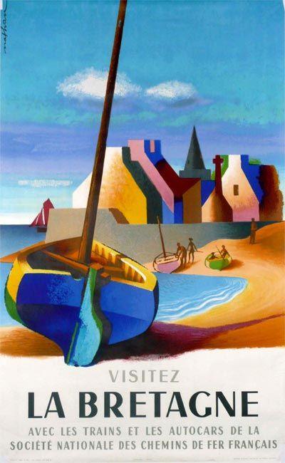 """SNCF (Société Nationale des Chemins de Fer Français) - Bretagne/Brittany - vintage travel poster by Jacques Nathan, 1954.  """"Visitez la Bretagne avec les trains et les autocars des Société Nationale des Chemins de Fer Français."""""""
