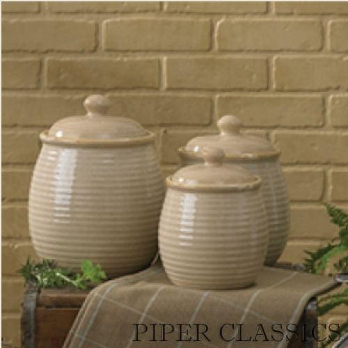 "Sandstone Canister Set/3 by Park Designs. This beautiful 3-piece ceramic cannister set complements our tabletop textile accessories. Sizes: Small - 7"" High • Medium - 8"" High • Large - 9"" High."