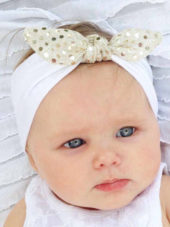 White/Gold Sequin Twist Baby Girl Head Wrap - Jersey Knit Adorable Bow Head Wrap - Little Girl Head Wrap