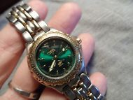 FOSSIL BLUE Watch Vintage Silver and Gold tone Green Face 90 meter Water Resist