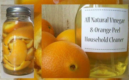 Add orange peels (or any citrus peel) to a quart of white vinegar in a closed container and let it sit for two weeks. Combine citrus-vinegar solution with half water in a spray bottle and use for cleaning. Works on floors, tiles, fixtures, kitchen & bath etc. It's antibacterial, smells good and tough on scum! Best of all there are no chemicals. ♥