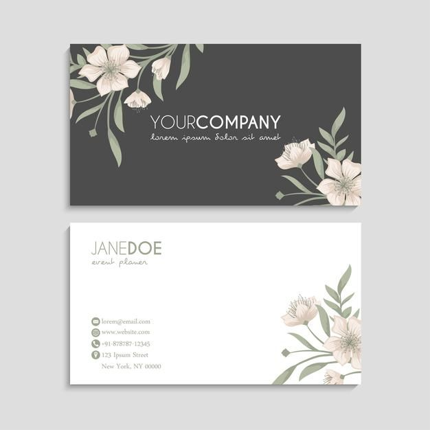 Flower Business Cards Template Free Vect Free Vector Freepik Freevector Business Card In 2021 Flower Business Free Business Card Templates Card Templates Free