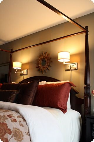Plug in wall sconces instead of bedside lamps (love having the light above my head!)