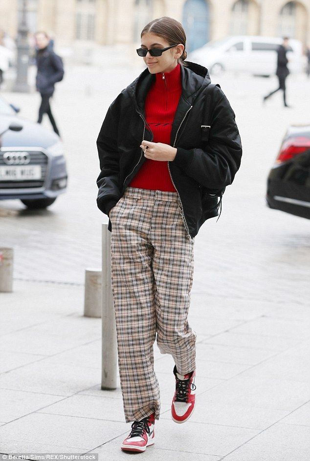 Kaia Gerber is trendy in tartan trousers during PFW | Daily Mail Online