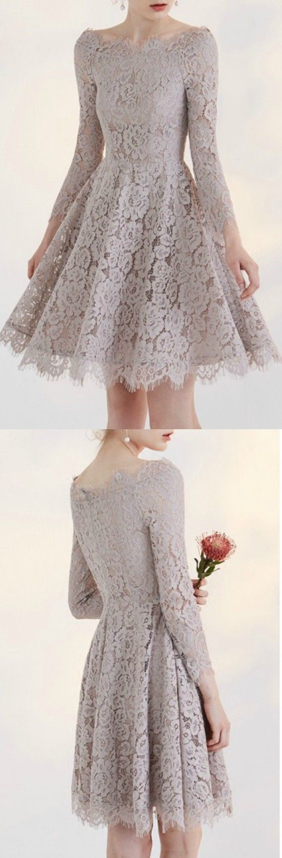 Charming Full Lace A-line Off the Shoulder Party Dress Homecoming Dress Prom Dress with 3/4 Sleeve
