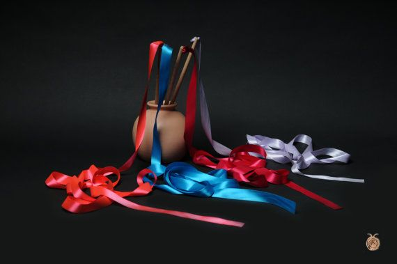 8 Ribbon Wands  Play Rhythmic Gymnastics Ribbons  Set by beigebois, €32.00