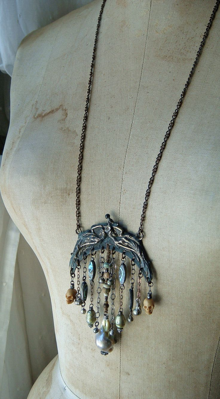 Rustic Relic Assemblage Vintage Bead Fringe Charm Tribal Neo Victorian Repurposed Reconstructed Mermaid Chatelaine Frame Necklace Jewelry by CobwebPalace on Etsy https://www.etsy.com/listing/470948406/rustic-relic-assemblage-vintage-bead