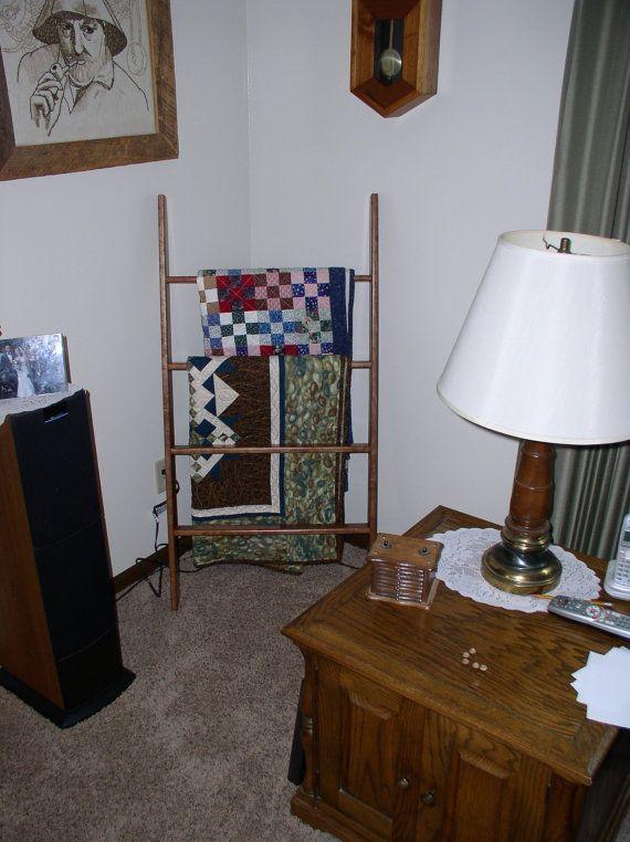 Wide ladder towel rack $155 https://www.etsy.com/listing/205798552/4-foot-tall-ladder-quilt-rack-cherry