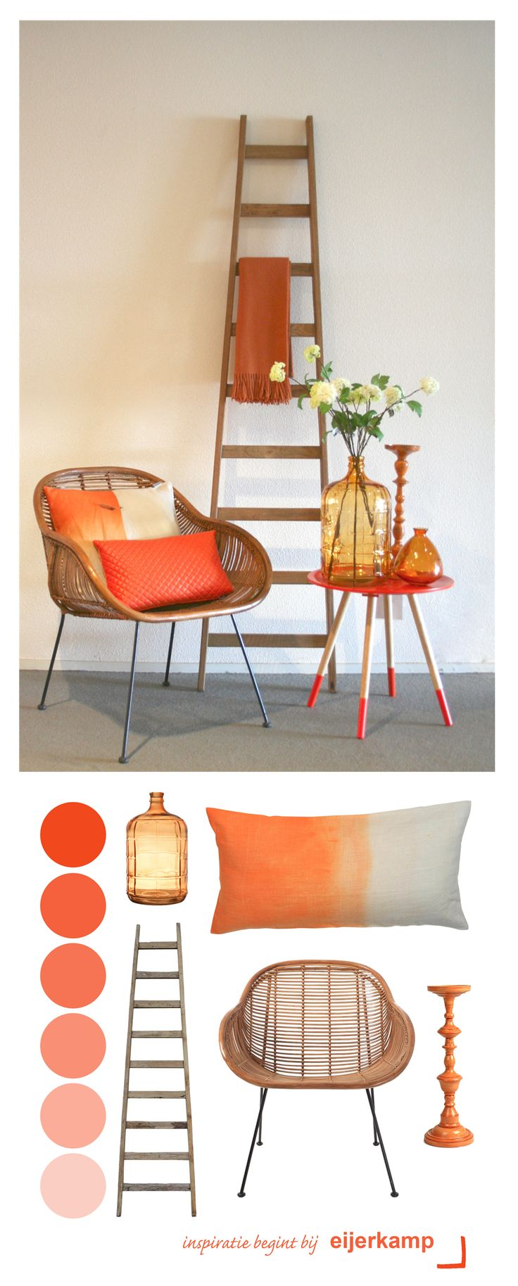 Haal de kleur oranje in huis! Oranje geeft je interieur een harmonische en zachte uitstraling. Gecombineerd met houten materialen is oranje voor elk seizoen! <3 Eijerkamp