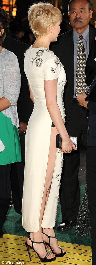 Michelle Williams flashes her underwear in dress split to the thigh at Oz: The Great and Powerful premiere