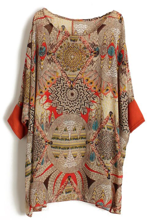 Orange Batwing Sleeve Retro Floral Chiffon Blouse - Sheinside.com
