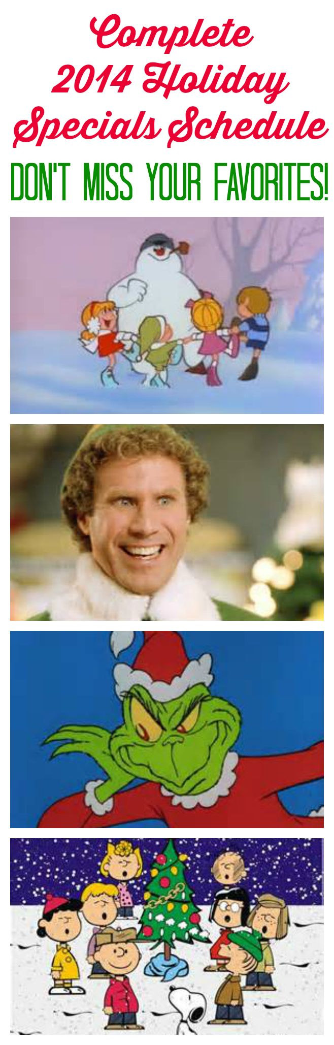 It's a complete 2014 Holiday TV Specials Schedule!