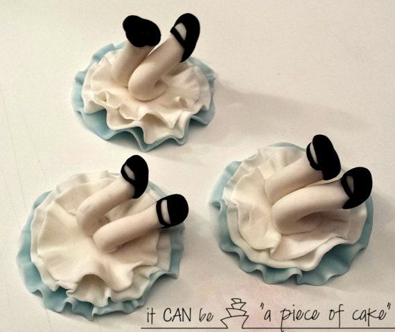 alice in wonderland cupcake toppers fondant by itcanbeAPieceOfCake