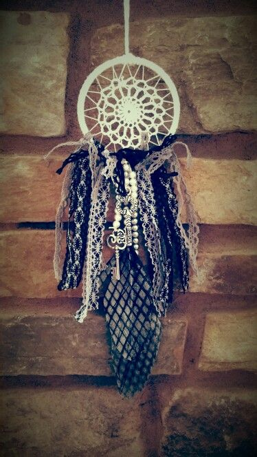 Dreamcatcher rear view mirror decor, handcrafted by me.