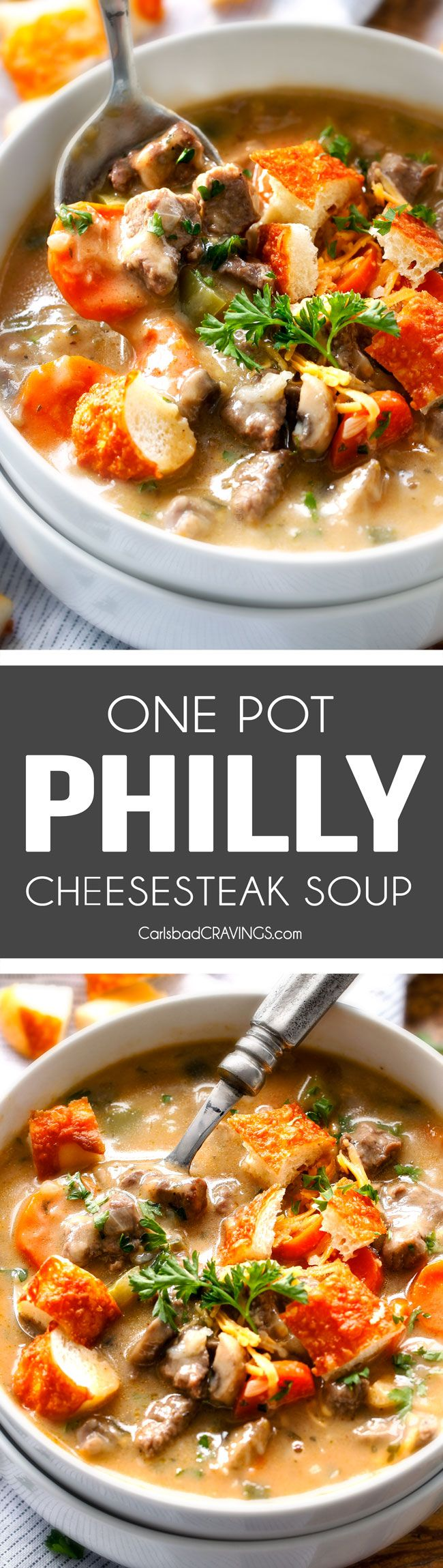 ONE POT Philly Cheesesteak Soup - My family LOVES this soup, we make at least twice a month! Its bursting with steak, peppers, onions, mushrooms in a flavor exploding cheesy soup all topped with cheesy seasoned croutons!