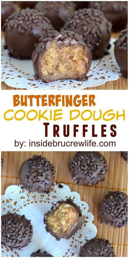 No bake cookie dough truffles filled with Butterfinger Bars and dipped in chocolate