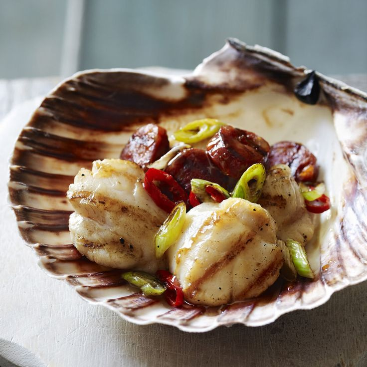 Scallops and chorizo make the easiest, most delicious starter ever. Serve on scallop shells if you can.