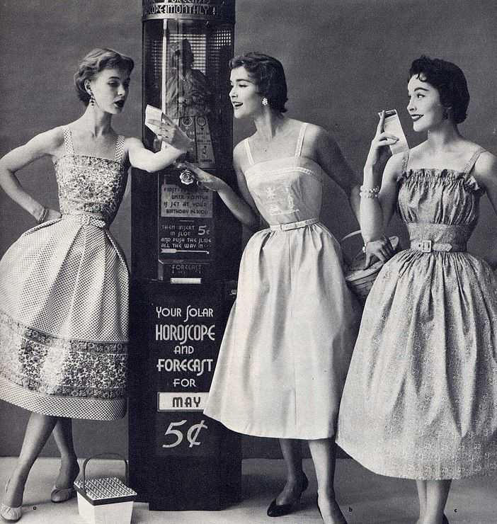 theniftyfifties:  1950s summer fashions with horoscopes.