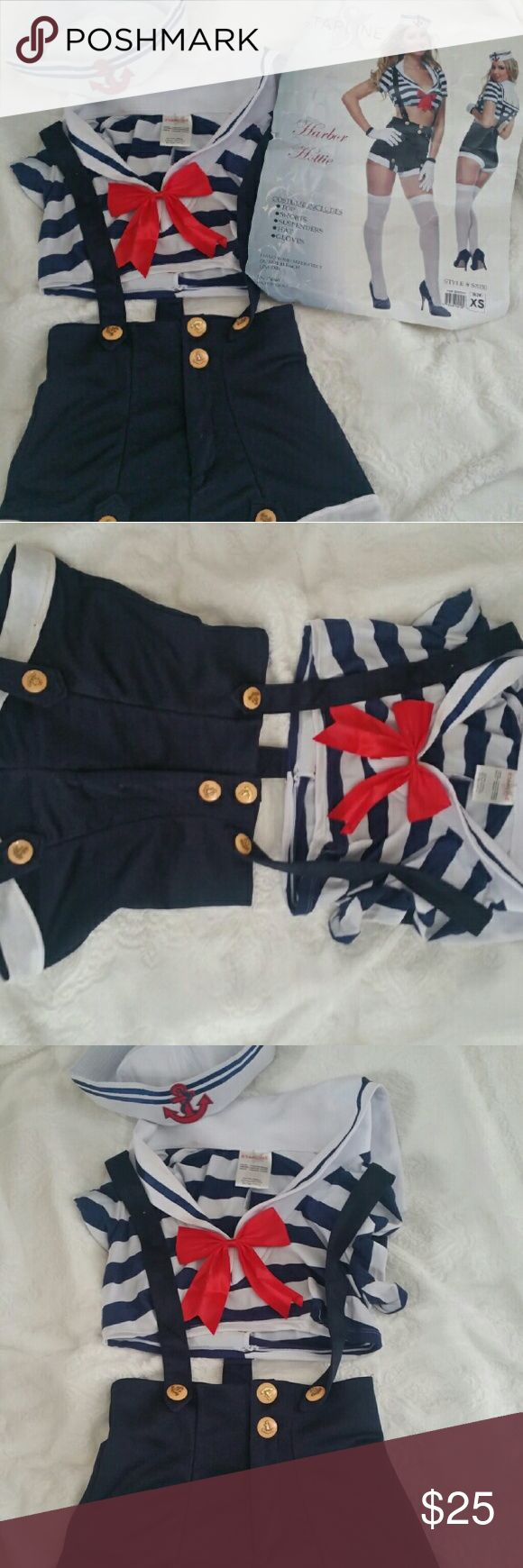 Sexy Sailor Costume Sexy Sailor Costume worn once  Includes : - Top - Shorts -Suspenders -Hat ** NO GLOVES** Starline Other