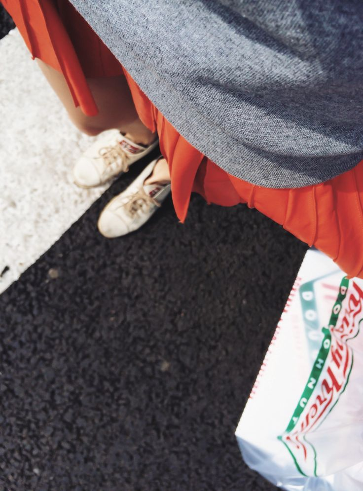 krispy kreme summer girl red leather skirt sneakers road