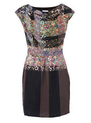 Lavand - Černé šaty s barevným květinovým potiskem - 1