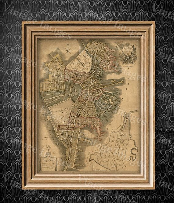 Boston Map Art Print Historic Boston City Map Antique Map Of Boston  Restoration Hardware Style Giant Boston Wall Map House Warming Gift Idea Part 69