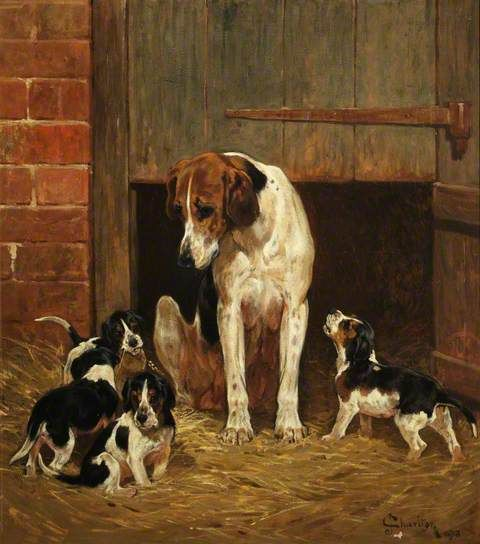 Foxhound and Litter, 1878, by John Charlton (1849-1917)